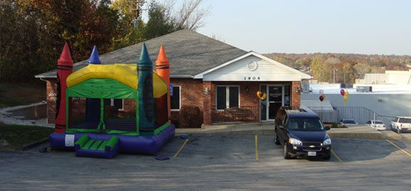 Bounce house in our parking lot