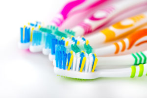Variety of colorful toothbrushes